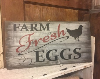 Farm Fresh Eggs sign, Chicken Coop Sign, Fixer Upper, Farmhouse sign, On Sale