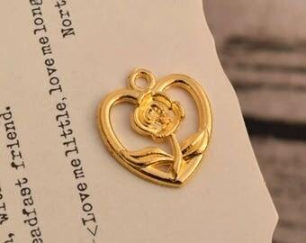 20 flower  heart charms gold rose charm pendants