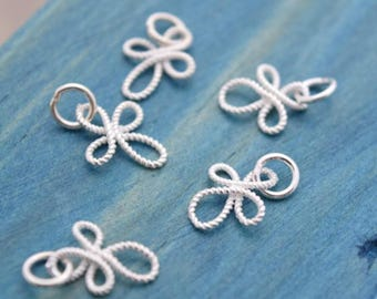 5 pcs celti charms knot pendants in sterling silver, NR9
