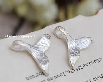 2 pcs sterling silver whale tail mermaid tail charm pendant  , S1