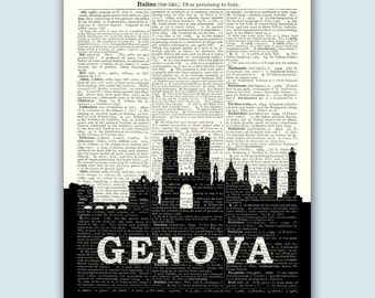 Genova Print, Genova Skyline, Genova Wall Art, Genova Wall Decor, Genova Italy, Genova Cityscape, Genova Decor, Genova Home Decor
