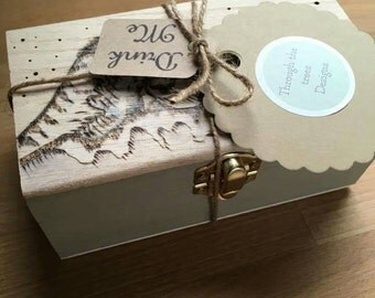 Handcrafted Tea box filled with a variety of my hand blended teabags . Wave heart, herbal tea. Gift for all