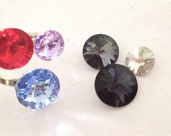 Sterling Silver Swarovski Crystal Ring - Wrap style - CHOOSE COLOUR
