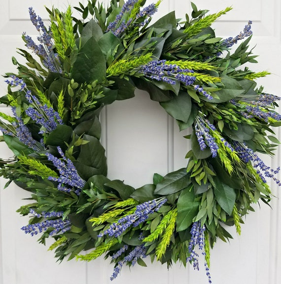 "Lavender wreath, 30"" wreath, dried lavender wreath,  wreath, leaf wreath, preserved wreath, decorative wreath, fragrant wreath"