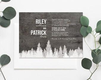 Rustic Wedding Invitation Template, Printable, Editable Text, Woodland Pine, DIY Wedding Invite, RSVP, & Detail, Instant Download, PDF #017B