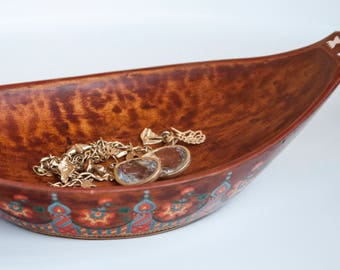 Hand Painted Low Wooden Bowl with Pearl Inlays