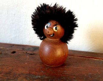 Wooden troll, Fur troll, Swedish wood troll figurine, Vintage Teak Troll, Naughty troll, Swedish souvenir
