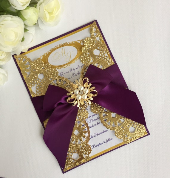 Purple And Gold Wedding Invitation Cards ~ Yaseen for
