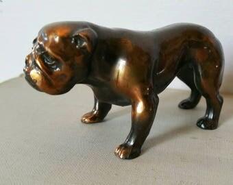 "Vintage English Bulldog Bronze tone cast metal figurine stamped ""Trophy Craft"""