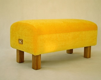 Yellow Ottoman, Upholstered Ottoman Yellow, Upholestered Bench, Pouf Ottoman,  Entryway Bench,