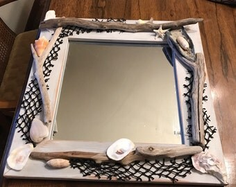 Driftwood and shell Mirror