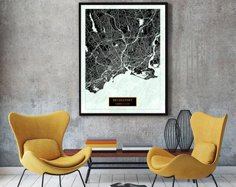 BRIDGEPORT Connecticut City Map Bridgeport Connecticut Art Print Bridgeport Connecticut poster map art United States of America Poster Jack