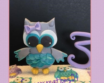 Edible owl cake and cupcake toppers
