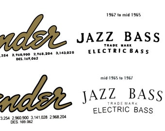Two Fender Jazz Bass 62-64 and 65-67 Headstock Decals