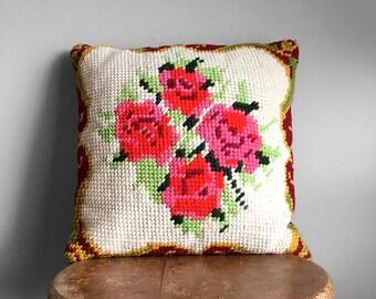 Vintage, Mid-Century, Cross-Stitch, Needlepoint, Floral, Rose, Corduroy, Cushion, Pillow, Throw Cushion, Decor