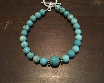 Turquoise beaded bracelet. Women's jewelry. Stacking bracelet
