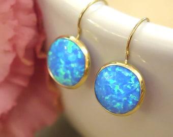 14K Gold Blue Opal Earrings - 14K Gold Earrings - Opal Drop Earrings - Opal Gemstone - Gift For Her - Opal Jewelry - October Birthstone