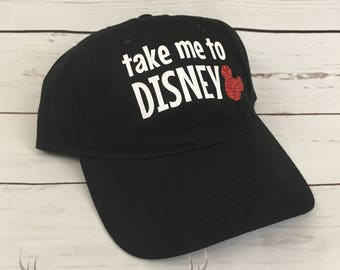 Take Me to Disney Baseball Hat | Baseball Cap | Disney Hat | Disney World | Disney Land | Mickey Mouse | Minnie Mouse | Glitter Mickey | Hat