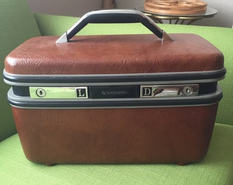 Vintage 70s Brown Samsonite Silhouette Train Travel Case/Toiletry Case with Mirror