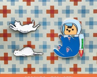 Imperfect Seconds Enamel Pin Sale - Tired Kitty, Flexible Cat, Space Cat - Cat Lapel Pin - Hat Pin - Cat Gifts - Cat Jewellery