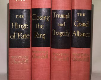 The Second World War, Winston Churchill, Set of 4 books, Decorative Red and Black Books, Vintage Decorative Books
