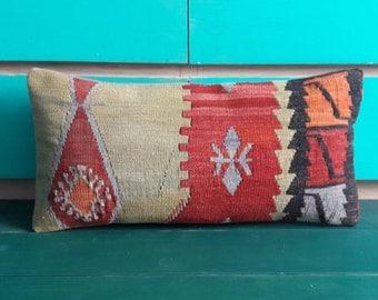 Kilim pillow wool pillow vintage turkish kilim pillow