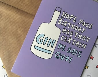 Gin birthday card - gin party - pun - gin and tonic - funny birthday card for her - pun birthday card