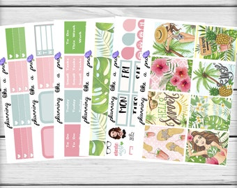 Hello Summer Planner Sticker Kit // Fits Erin Condren Vertical Life Planner, Happy Planner, etc