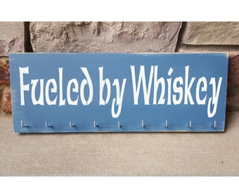 """Handmade Running Medal Display """"Fueled by Whiskey"""""""