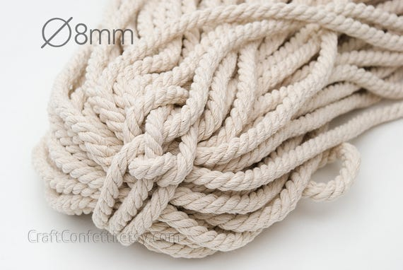 Nautical twisted rope 8mm natural color cotton cord beige for Nautical rope decorating ideas