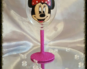 Hand painted Minnie Mouse glass