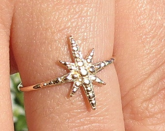 Gold Star Ring, Gold Star, 14k Gold Plated Ring, Star Jewelry, Fashionable Gift, Star Ring, Gift For Her, North Star Ring, North Star,
