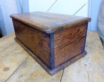 Small Antique Pine Box - Small Storage Box(Stock#6583)