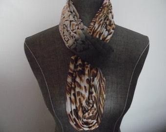 INFINITY SCARF.Grey.Mocha.Animal Print.Jersey Knit. Office.Weekend.Circle Scarf.Summer.Spring.Winter office.Spring. Product ID# SC0055