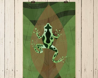 Posion Dart Frog Art, poison green frog art, green frog print, frog art print, frog art, green and black frog, wall art, original artwork