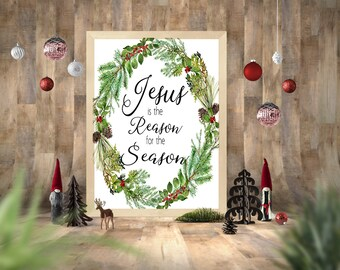 Christmas Printable, Jesus Is The Reason For The Season Art Print, Christmas Wall Art, Printable Christmas Decor, In This House Printable