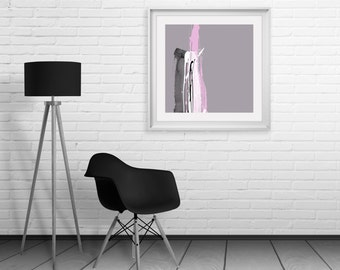 Pink Grey Abstract Art Print - Simple Splash Style For Modern Decor, Dimensional Paint Effect, Quality Giclee Print, Large Square Format