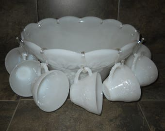 Anchor Hocking Grape Pattern Milk Glass Punch Bowl and Cup Set