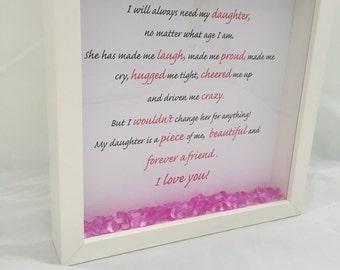 Special gift for a daughter - mother and daughter frame - sparkly gift- birthday gift for daughter