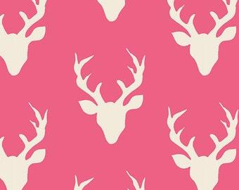 One Yard Hello Bear, Buck Forest Camellia, Bonnie Christine for Art Gallery Fabrics, Pink Deer Fabric