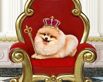 Custom Pet Portrait from your photo! See your spoiled pet as king or queen on the throne, digital painting or art print, makes a great gift!
