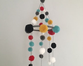 Pom Pom Mobile for Baby Nursery