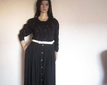 Vintage 80s skirt high waist pleats skirt S