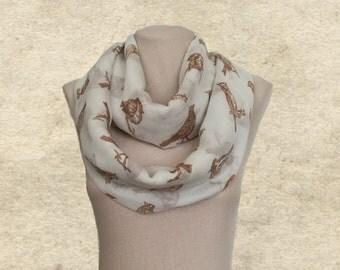 Womens circle scarf, Light infinity scarf, White loop scarf, Birds print scarf, Lightweight scarf, Scarf infinity loop, Scarves circle women