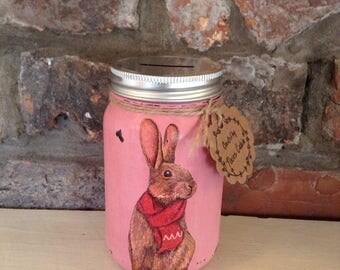 Rabbit Mason Jar money bank, piggy bank, savings jar, Shabby chic, vintage, Easter
