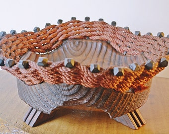 Industrial Style, Vintage Round Basket, Footed Rope And Wood Basket