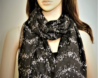 Beaded Black Mesh Infinity Scarf, Glimmering Infinity Scarf, Light Reflecting Infinity Scarf, Elegant Accessories for Women, Glam Scarf