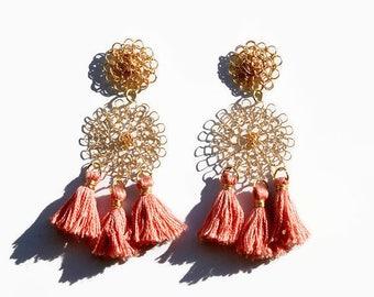 Tassel earrings, boho earrings, pink, gold, long, dangle, chandelier, statement, wire crochet, jewelry, tribal, handmade, gift for her