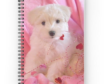 White Puppy Journal, Pink Spiral Notebook, Sweet Gift for Girl, Pink Notebook, Girl's Diary, Romantic Gift for Dog Lover, Schnauzer Dog Gift