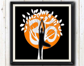 Yoga orange tree pose digital download/ printable art/ yoga studio decor